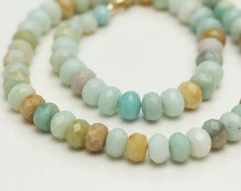 earthy colors amazonite necklace / natural stone jewelry necklace for her / rustic necklace / earthy gemstone necklace