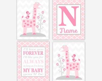 Baby Girl Nursery Art Pink Gray Giraffe I'll Love You Forever Personalized Monogram Name Chevron Birds Flowers Quatrefoil Wall Decor