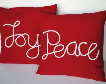 Two handmade linen Christmas pillow cover, cushion, decorative throw pillow, decorative pillow, Christmas decoration, Peace pillow