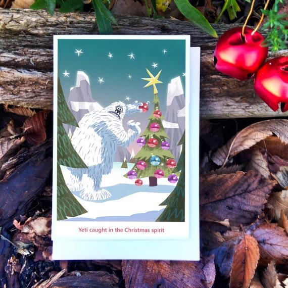 funny christmas card    yeti card    abominable snowman card