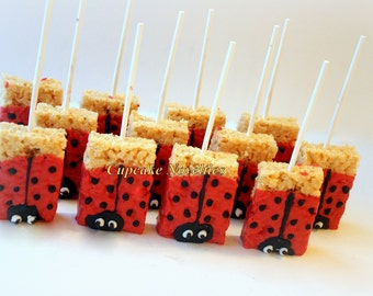 Ladybug Birthday Party Favors Dessert Chocolate Dipped Rice KrispieTreats  Valentines Day Edible Favor Cookies Ladybug Baby