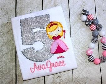 princess birthday top pink and gray princess birthday shirt birthday number applique top  birthday shirt set outfit clothing girl toddler