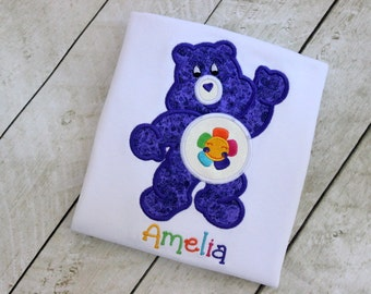 care bear birthday top birthday shirt birthday number harmony purple care bear birthday shirt set outfit clothing girl toddler birthday