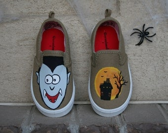 HAND PAINTED HALLOWEEN Vampire Shoes, haunted house shoes, Vampire Costume, Slip on's, Toddler and Children Sizes, monster shoes