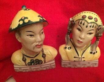 Mongoldheads Woman & Man Bust 1940's Original Vibrant