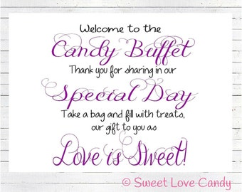 INSTANT DOWNLOAD Candy Buffet Sign, Wedding Candy Sign, Purple Candy Buffet