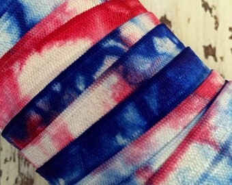 "Tie Dye FOE // 5/8"" Red-White-Blue Tie Dye Fold Over Elastic - Hair Ties - Headbands - Tie Dye Hair Ties"