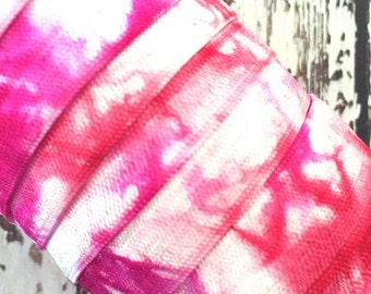 "Cherry-Magenta-White Tie Dye 5/8"" Fold Over Elastic // 5/8"" FOE // Hair Tie - Headband Supplies"
