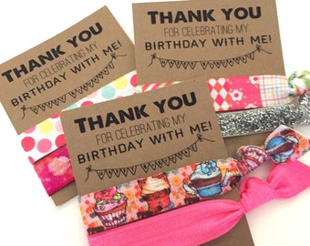 Birthday Hair Tie Favor // Thank You Gift - Small Gift - Hair Ties Favor - Girls Birthday Cupcakes Tie Dye Patchwork Glitter