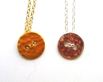 Silver Necklace, Gold Necklace, Button Necklace