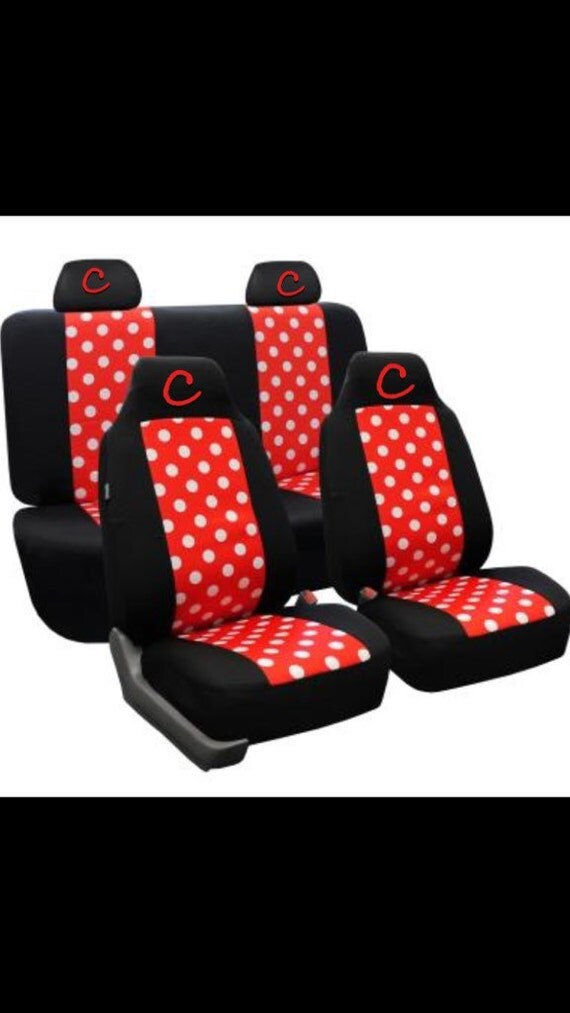 whole car seat set black red and white polka dot