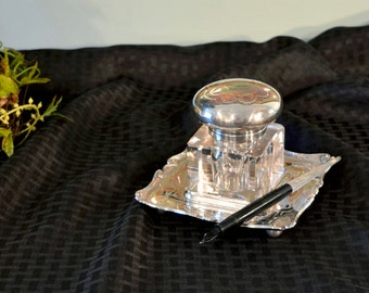EG Webster & Son Silver Plate Inkwell and Stand - Quadruple Silver Plate - Large Glass and Silver Plate Inkwell