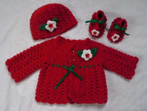 Crocheted baby girl's sweater newborn red baby sweater