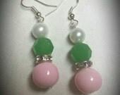 Sweet Nothings-Handmade pink glass bead, green stone, and white glass pearl drop earrings. AKA inspired. Alpha Kappa Alpha.