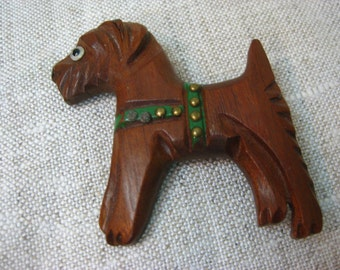 VIntage 1940s Wood-Carved Scotty Dog Pin Brooch