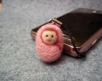 Needle Felted Baby Girl, Phone Charm, Handbag/Keyring Charm, 3D Baby Girl, Merino Wool, Unique, Baby Shower Gift, Baby Girl, Baby in Blanket