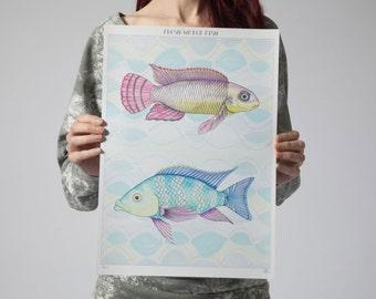 Fish Print- Fine Art Print- Tropical fish print-art illustration-watercolour print - pastel colours - wall art - Mothers Day
