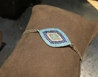 Silver Evil Eye Chain Bracelet