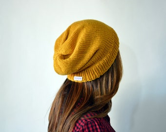 The Jordan Hand knit Women Mustard Women Super Slouchy Beanie
