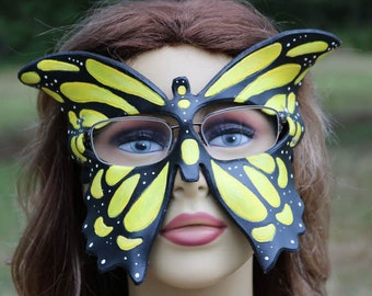 leather yellow monarch butterfly mask