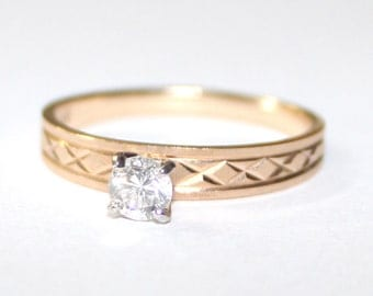 Diamond Engagement Ring 14k yellow gold - 6.25 size - sku 64412