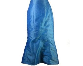 SILK VINTAGE SKIRT, Large skirt, Lined silk skirt, Heavey silk vintage skirt, Retro silk skirt, Blue Silk skirt, europeanretrofashion