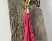 Hot Pink Fringe Keychain-- Hot Pink Suede Keychain
