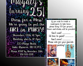 Paint Party Invitation with RSVP Card- DIY Printable Customizable Invite