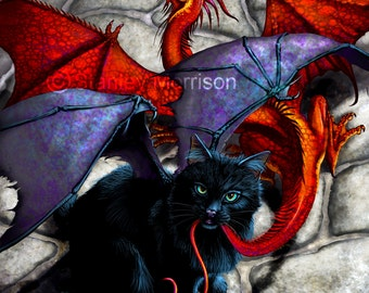"""WHAT the CATABAT DRAGGED in"""" print 4x6, 8.5x11, or 11x14. cat has dragon by tail"""