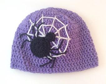 Crochet Purple Spider Hat