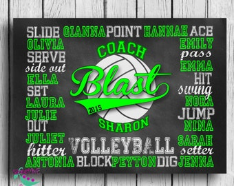 Customized VOLLEYBALL coach gift, personalized volleyball gift, volleyball subway art, coach art, coach print, DIGITAL IMAGE