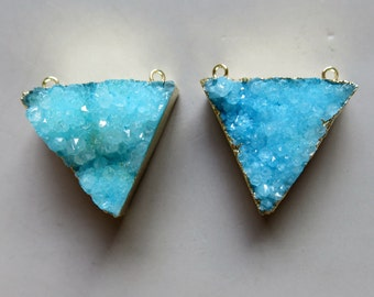 Triangle Natural Quartz Druzy Pendant with Gold Edge - B1277