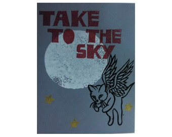 Take to the Sky - Night flying kitten embossed greeting card