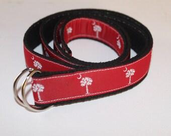 Garnet and White SC Palmetto Tree Belt- Adjustable D-Ring- For Children