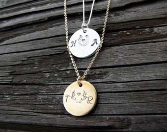 Country Couples Stamped Initial Necklace with Horseshoe Heart- Personalized Gold Plate Necklace- Monogrammed Necklace- Name Plate- Sterling