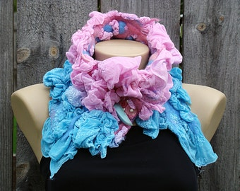 Felted Scarf Neckpiece Collar.  Pink and Blue Art. Nuno Felted Chiffon Neckpiece Collar.