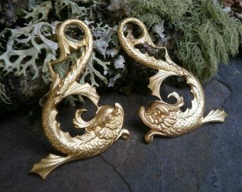 Raw Brass Stamping Fish Dragon Pair Mythological Beast