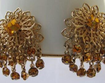 Fantastically Ornate Gold Filigree and Amber Rhinestone Short Fringe Earrings, Layered, Retro Clip Backs