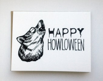 Happy HOWLoween - Hand Lettered Greeting Card