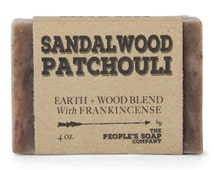 Sandalwood Patchouli Soap with Frankincense - Thick Lather Shea Butter Soap - All Natural Vegan - Best Handmade Soap - Musky Soap for Men