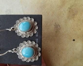 Silver Vintage Turquoise Earrings