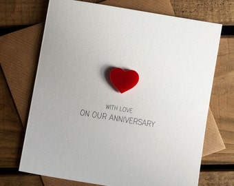 On Our Anniversary with Love Card with Magnetic Love Heart Keepsake