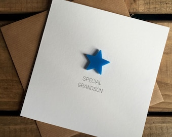 Special Grandson Card with Light Blue detachable magnet keepsake