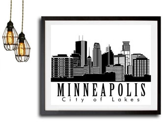 Minneapolis Poster Print, Minneapolis Skyline Print