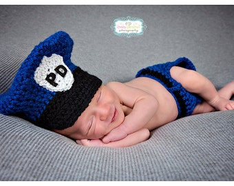 Police Officer Hat, Diaper Cover & Handcuffs Outfit - Newborn Photo Prop - Baby Photo Prop - Newborn Crochet Outfit - Police Officer Prop