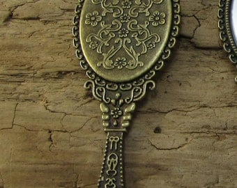 Miniature Hand Mirror Pendant, 70x26mm Single-Sided Antiqued Brass Hand Mirror, Necklace Pendant, Item 1082m