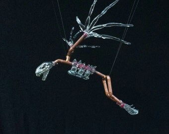 Hand Blown Clear Glass Bat Skeleton on Copper Tubing