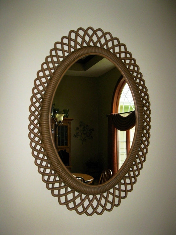 Oval Foyer Mirror : Super nice woven lattice wall mirror oval entryway