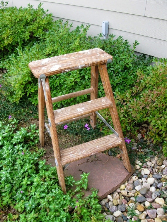 Vintage Wooden Step Ladder Heavy Duty Step Stool Folding