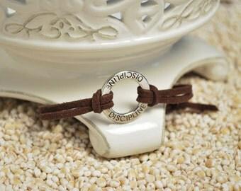 DISCIPLINE Bracelet - Inspirational word bracelet - metal affirmation ring with inspirational saying on cord bracelt